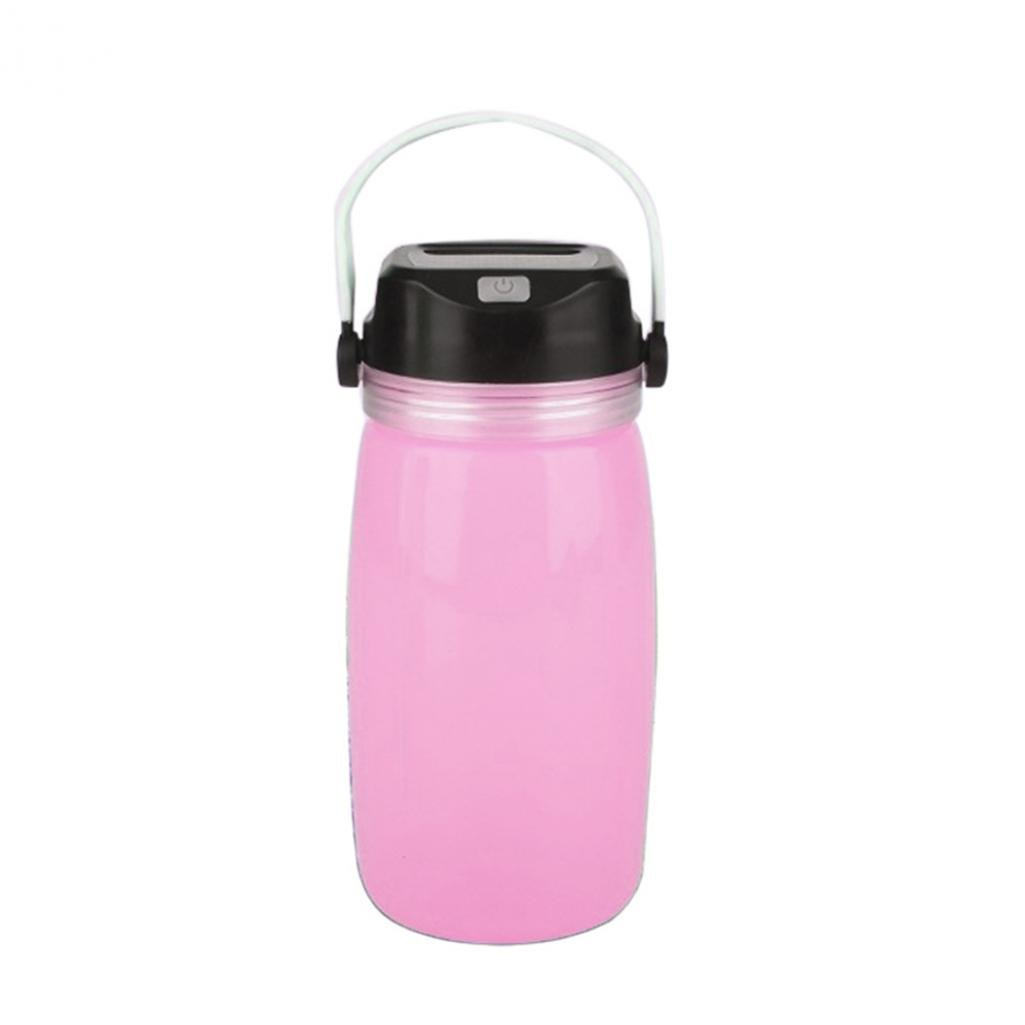 Afco Camping Water Bottle,Creative Drink Sport Solar Charge Luminous Travel Bike Cup For Hiking Outgoing (Pink)