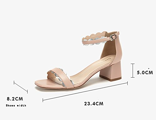 Sandals ZCJB Women's Shoes Summer Word Buckle Shoes Mid Heel Thick With Thick Heel For Women (Color : Pink, Size : 38) Pink