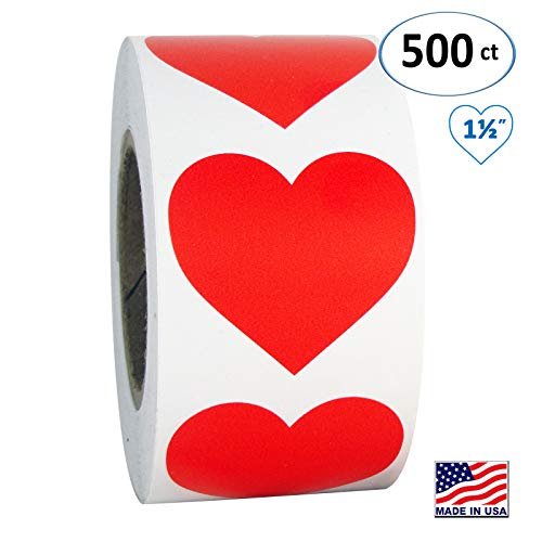 Red Heart Shaped Sticker Labels, 1 1/2