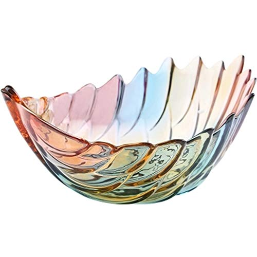 Crystal Fruit Basket - QPSGB Fruit Plate - Fruit Basket Fashion Feather Colorful Crystal Glass Fruit Plate Modern Creative Living Room Fruit Stand - tray bowl stand (Color : Colored, Size : Fruit bucket)