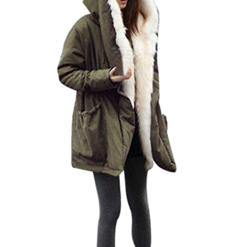 Price comparison product image Kstare Women Fashion Winter Warm Thick Fleece Faux Fur Coat Jacket Hooded Outwear (Army Green, XL)