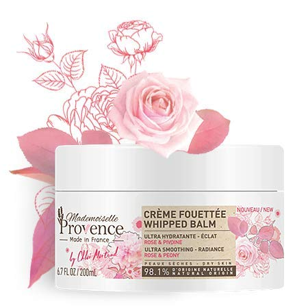 (Mademoiselle Provence Shea Butter Souffle Whipped Body Cream with Organic Rose and Peony, Ultra-Rich Natural Nourishing Smoothing Vegan Body Balm, Dry Sensitive Skin, Made in France, 6.7 fl oz)