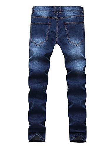 Pantalones Versaces Hombres Jeans blue Apretado Bomba Ocio Agujero Cintura Alta Media Oscuro gvgqr4x