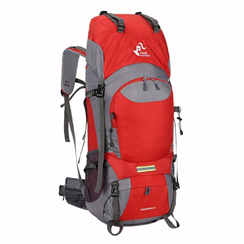 Free Knight 60L Hiking Backpack Mountaineering Camping Trekking Travel Bag Large Capacity Rucksack Internal Frame Water Resistant for Outdoor, Red