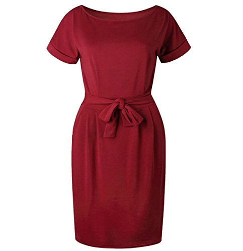 Bodycon Dress Office Casual Womens Domple Red Scoop Party Wine Fit Neck Slim Pencil YZwnvqx