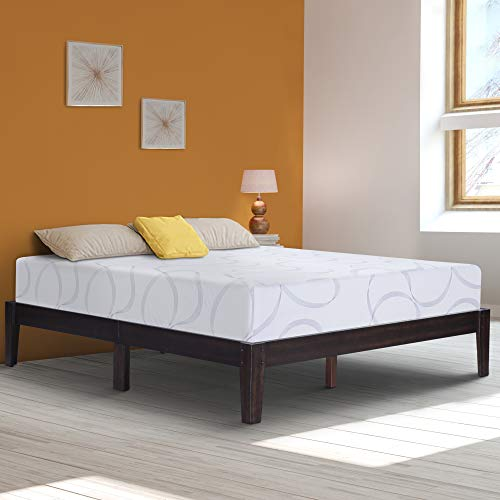 (Ecos Living 14 Inch High Rustic Solid Wood Platform Bed with Natural Finish/No Box Spring Needed/No Squeak (Queen))