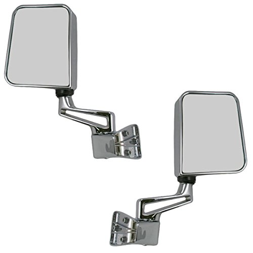 1987-2002 Jeep Wrangler Mirror Manual Chrome Door Hinge Mounted (Fits both Full and Half Doors) Folding Rear View Mirror Pair Set: Right Passenger AND Left Driver Side (1987 87 1988 88 1989 89 1990 90 1991 91 1992 92 1993 93 1994 94 1995 95 1996 96 1997 97 1998 98 1999 99 2000 00 2001 01 2002 02) (Door Manual Mounted Mirror Drivers)