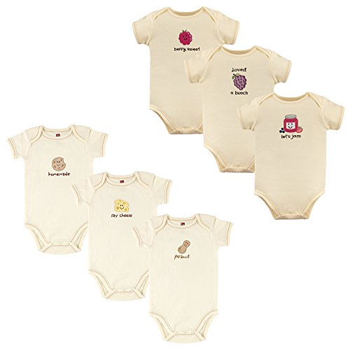 - Touched by Nature Unisex Baby Organic Cotton Bodysuits, Peanut Jam 6-Pack, 9-12 Months (12M)