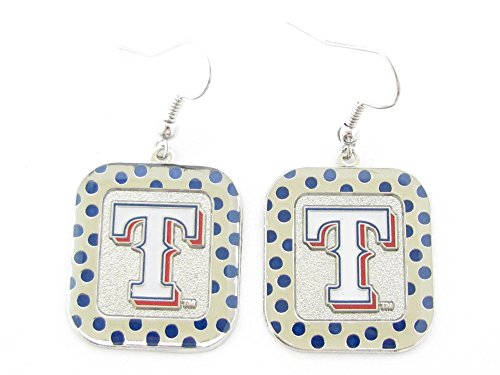 - Texas Rangers Blue Polka Dot Silver Rectangle Hook Earrings MLB Gift Jewelry