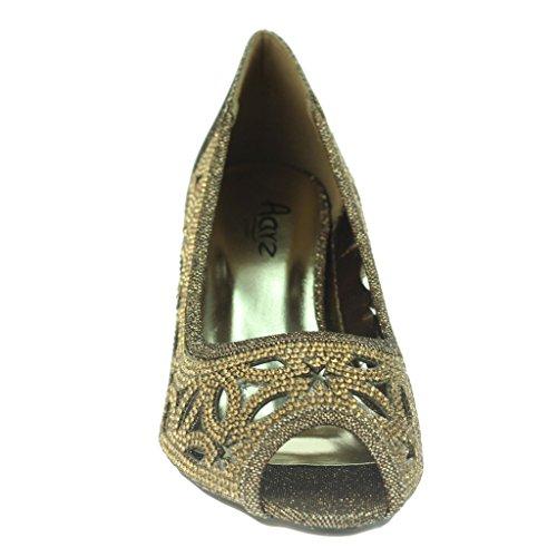 Frau Damen Diamant Peeptoe Abend Hochzeit Party Braut Abschlussball Niedrige Kätzchen Ferse Sandalen Schuhe Größe Braun