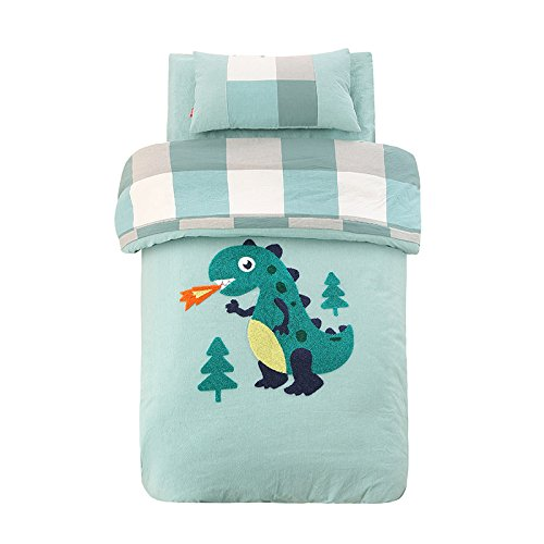 Abreeze Blue Cotton Nursery Crib Bedding Set for Boys Dinosaur Kids Comforter Set,3pcs by Abreeze (Image #1)
