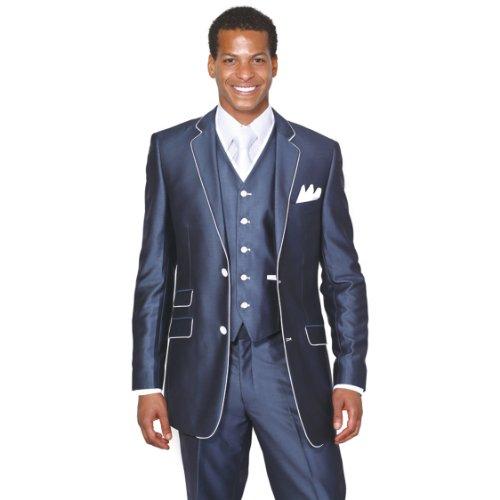 Milano Moda 2 Button Slim Fit Fashion Suit with White Hemming 5702V1 - Nv Fashion Center