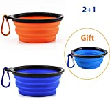 "Oubest 2 Pcs Collapsible Dog Bowl Large 34 OZ/ 7"" with 1 Pc 5"" as Gift- Food Grade Silicone BPA Free-Foldable Expandable for Pet Food Water Feeding-Portable Travel Bowl Blue and Orange Free Carabiners"