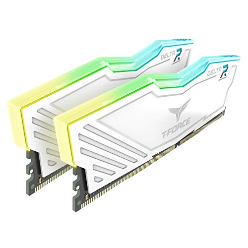 TEAMGROUP T-Force Delta RGB DDR4 16GB (2x8GB) 2666MHz (PC4-21300) CL15 Desktop Memory Module ram TF4D416G2666HC15BDC0 - White