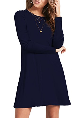 CPOKRTWSO Women's Casual Plain Tshirt Dress Plus Size Loose Swing Dresses NavyBlue XXL by CPOKRTWSO