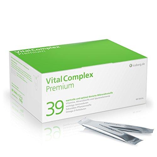 VitalComplex Premium - 39 hochdosierte Mikronährstoffe - Vitamine - effektiver B-Komplex - Mineralstoffe - Aminosäuren - sek. Pflanzenstoffe - Omega 3 - DHA - Q10 - perfekt kombinierte Multivitamine