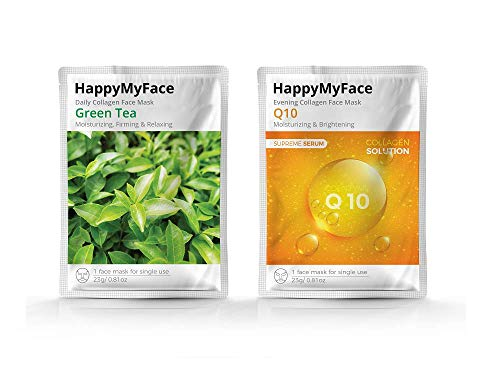Happymyface Daily Collagen Face Mask Sheet 14 packs AntiWrinkle AntiAging Deep Moisturizing Collagen