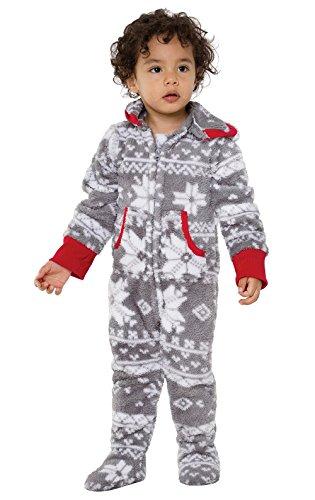 PajamaGram Toddler Christmas Pajamas Kids - Footie Pajamas for Kids, Gray, 2T