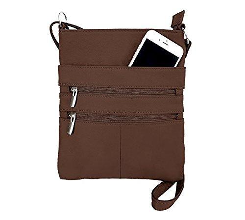 Roma Leathers Mini Body Purse - Five Compartments, Adjustable Strap - Brown