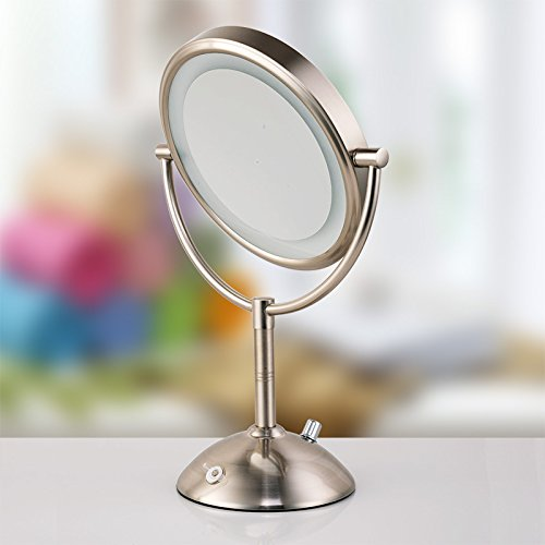 chic Desktop Single-sided Mirror Vanity Mirrors Brushed Nickel 810-inch x