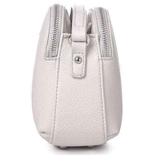 Leather Basic Bag Medium Saddle Black Ladies Zipper Handbag Fashion Shoulder Multi Pockets Faux Women's Crossbody David Travel White Wallet Messenger Jones Purse Sw7qtt