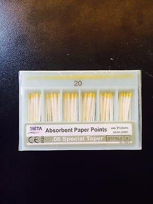 Bulk dental paper point .06 Taper #20 10x of 60/pack (Total 600pieces) -Meta