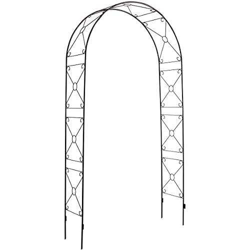 DOEWORKS Garden Arch, 3' 11''Wide x 7'10''High Rose Arbor with Sharp Ends for Various Climbing Plant, Outdoor Garden Lawn Backyard, Weeding, Black