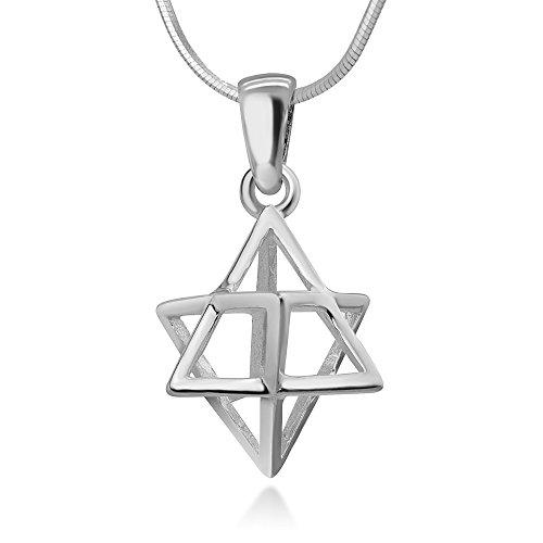 Chuvora 925 Sterling Silver 3-D Merkabah Merkaba Sacred Geometry Star Tetrahedron Pendant Necklace 18