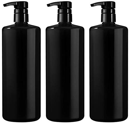 - Bar5F Empty Shampoo Bottle with Pump, Black, Great 1 Liter/32 Ounce Refillable Dispensing Containers for Conditioner, Body Wash, Hair Gel, Liquid Soap, DIY (Pack of 3)