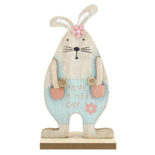 LITTLE SIENA Easter Decorations, Wooden Rabbit Bunny Festive Mini Animals Ornaments Craft Gifts for Home Table Top Decor Pendant Wedding Festival Holiday Party Valentine's Day New Year Decor Blue