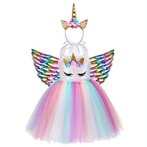 Disfraz Unicornio Niña para Fiesta de Princesa Unicornio Cumpleaños Niña