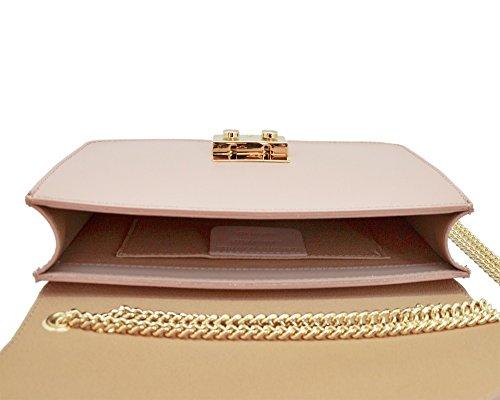 AMELIA Bolsa italiana Clutch Baguette bandolera con la correa de cadena de oro la luz, cuero liso desnudo