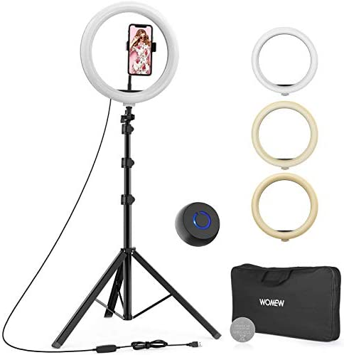 "WONEW 12"" Selfie Ring Light with Tripod Stand 66"", Flexible Phone Holder, Bluetooth Remote Control and Carry Bag for Live Stream/Makeup/YouTube Video/Photography, Compatible with iOS/Android"