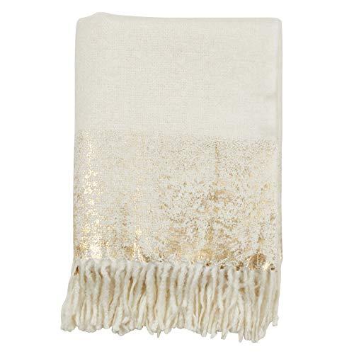 SARO LIFESTYLE Sevan Collection Foil Print Faux Mohair Throw, Gold