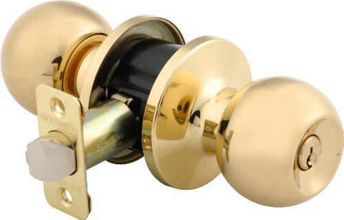 Brinks 2707-105 Ball Style Keyed Entry Door Knob, Polished Brass ()