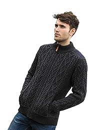 Merino Wool Irish Half Zip Aran Sweater