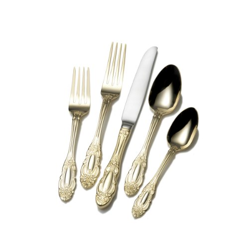 - Wallace 5057902 Duchess Gold Plated 18/0 Stainless Steel 65-Piece Flatware Set, Service for 12