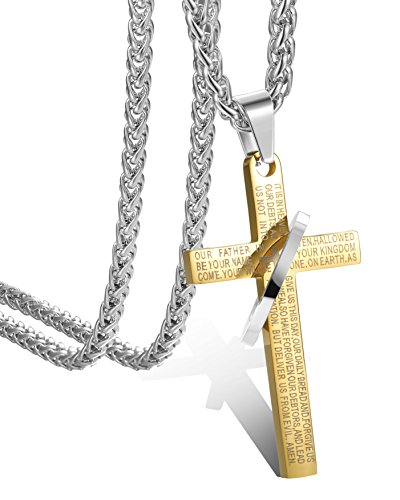 FIBO STEEL Stainless Steel Mens Womens Cross Necklace Bible Pendant, 24 inches, Gold-Tone,Wheat Chain
