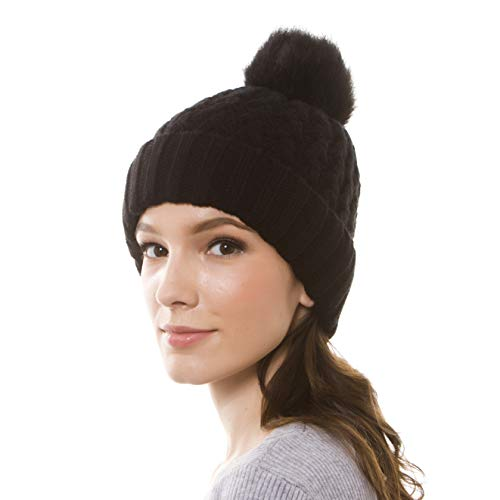 GRAMONI Womens Winter Ribbed Knit Faux Fur Pompoms Chunky Lined Beanie Hats for Christmas (MZ02-Black)