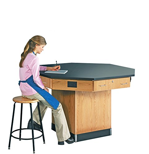 Diversified Woodcrafts 1516KF Solid Oak Wood Octagon Workstation with Pedestal Base and Flat Epoxy Resin Top, 56