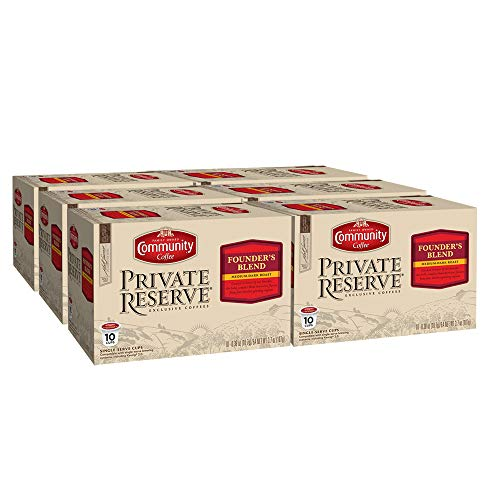Community Coffee Private Reserve Founder's Blend Medium Dark Roast 60 Ct Single Serve (10 ct, 6 Pack) Compatible with Keurig 2.0 K Cup Brewers, Full Body Rich Smooth Taste, 100% Arabica Coffee Beans