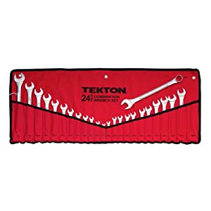 TEKTON 1916 Combination Wrench Set, Inch/Metric, 1/4-Inch - 1-Inch, 8 mm - 24 mm, 24-Piece [Older Model]