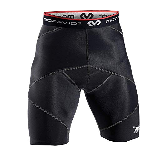 McDavid Cross Compression Shorts, Men's Performance Boxer Brief w/ Hip Flexor - thick compression material for recovery and support Black X-Large (Compression Mcdavid Padded Shorts)