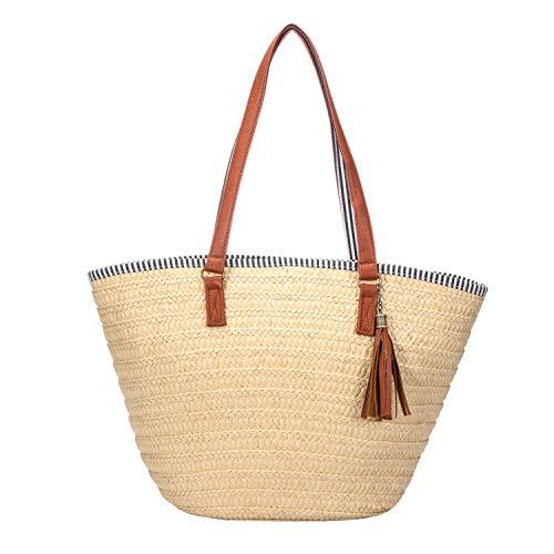 (ABage Beach Bag Large Woven Straw Bag Handmade Shopper Tote Zipper Top Handle Shoulder Bag, Khaki1)