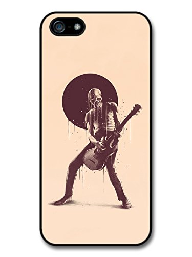 Cool Skull Rock Star With Guitar Illustration on Beige Design case for iPhone 5 5S