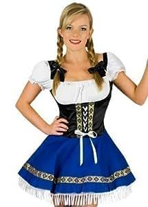 Disfraz para Dama Estilo Mesera Sueca/Alemana Sexy Oktoberfest - Talla UK 8-10 EU 36-38