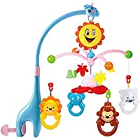 5 Pcs Lovely Colourful Musical Hanging Rattle Toys with Hanging Cartoons for Toddlers/Babies/Infants/New-Borns Design May Very( (40X40X9cm)