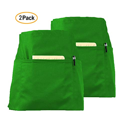 CLOCOR 2 Pack Waist Apron for Men Women - Waitress Waiter Aprons with 3 Pockets, 65% Poly / 35% Cotton, 24 X 12 inch Green Short Apron for Restaurant Home Kitchen Cooking Cleaning Stylist Garden