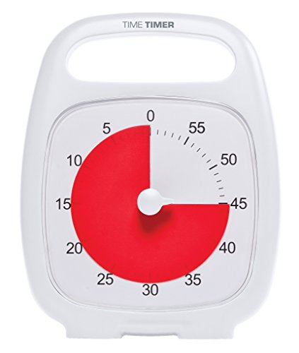 Time Timer PLUS, 60 minute visual analog timer with handle and optional alert, White