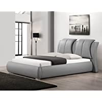 Baxton Studio Malloy Modern Bed with Upholstered Headboard, Queen, Grey